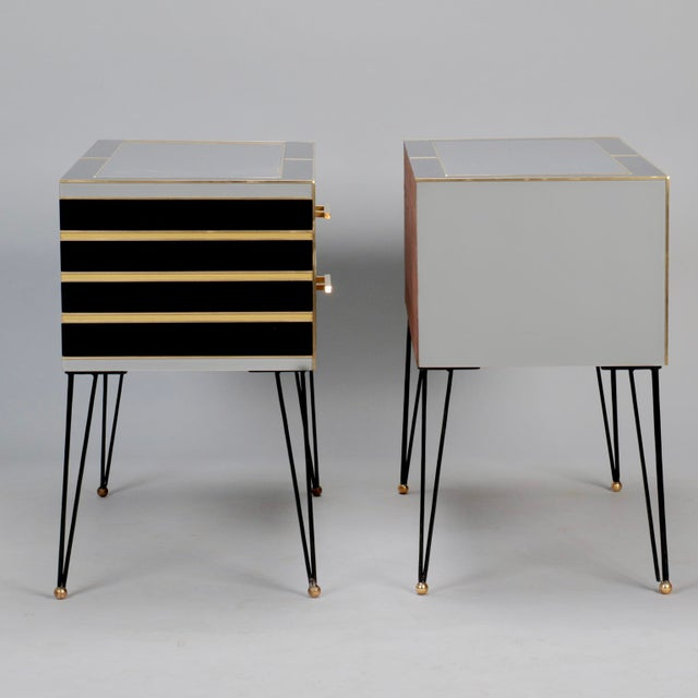 Italian Two-Drawer Cabinets with Murano Glass and Brass Inlays - A Pair - Image 3 of 11