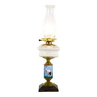 Late 19th Century Miller Lamp Co. Brass Converted Oil Lamp For Sale