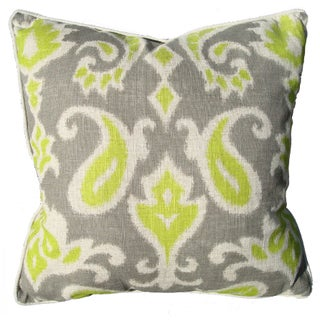 Green & Grey Ikat Linen Pillow