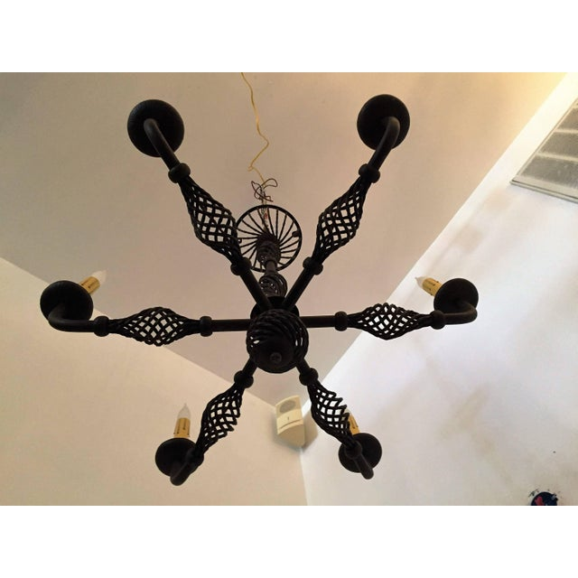 1940s French Moderne 1940s Iron Chandelier For Sale - Image 5 of 11