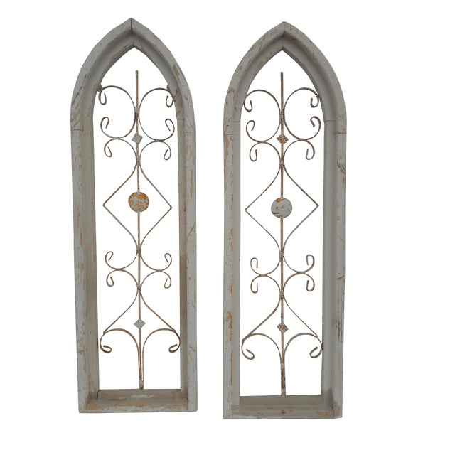 Metal Rustic Farmhouse Cathedral Grill Shabby Window Wall Hangings - a Pair For Sale - Image 7 of 7
