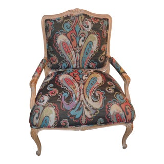 French Style 1960s Armchair in Paisley