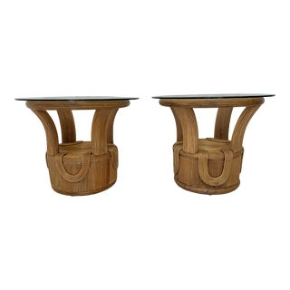Vintage Betty Cobonpue Style Pencil Reed Side Tables- a Pair For Sale