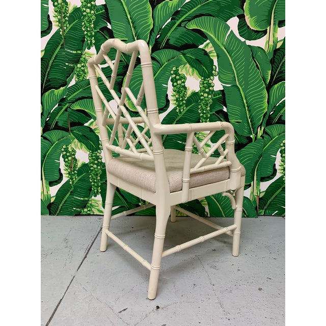 1990s Faux Bamboo Chinese Chippendale Dining Chairs Set of 6 For Sale - Image 5 of 9