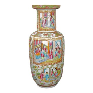 1840 Antique Chinese Polychrome Rose Mandarin Rouleau Vase For Sale