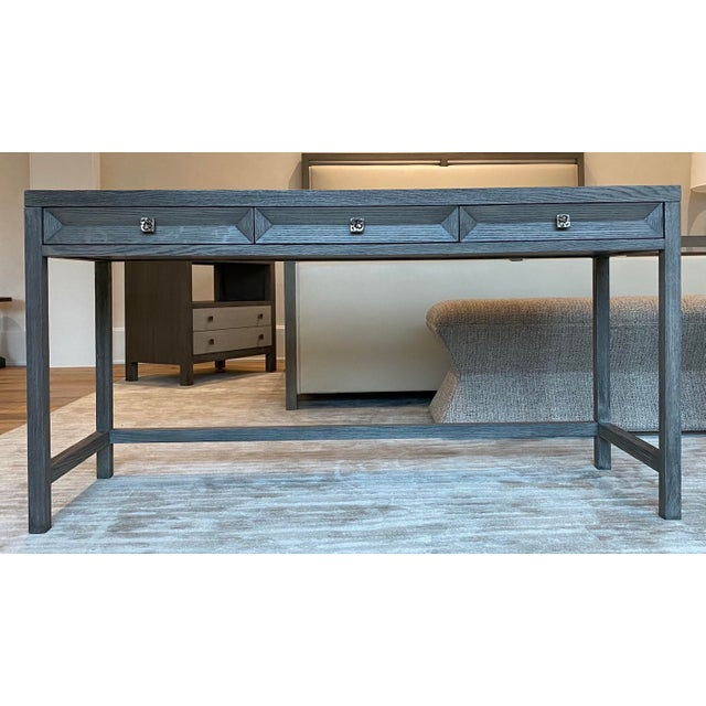Gray Transitional Gray Wooden Writing Desk For Sale - Image 8 of 8