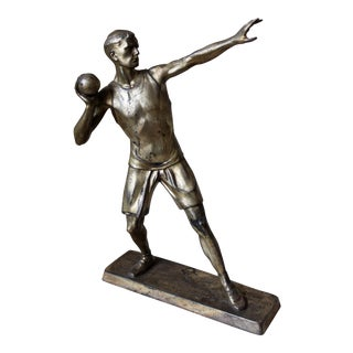 Silver Spelter Athlete Figure For Sale