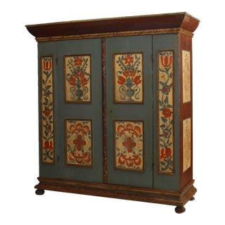 American Painted Kas Armoire For Sale