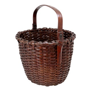 Large Antique American Hand Woven Basket For Sale