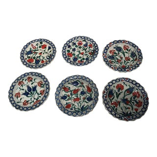 Turkish Traditional Iznik Design Ceramic Plates - Set of 6 For Sale