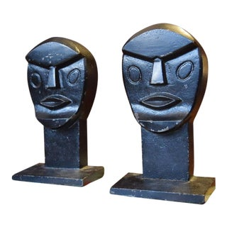 Modernist Cubist Mid Century Bookends - a Pair For Sale