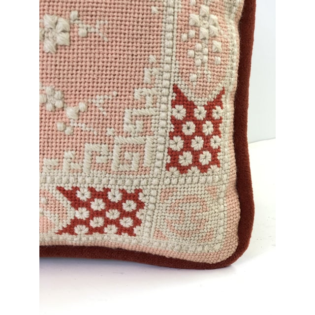 Blush Vintage Cherry Blossom Needlepoint Pillow in Blush and Coral For Sale - Image 8 of 11