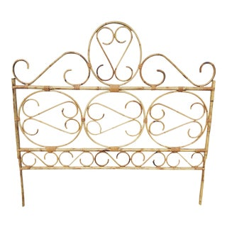 Boho Chic Ornate Rattan Headboard For Sale