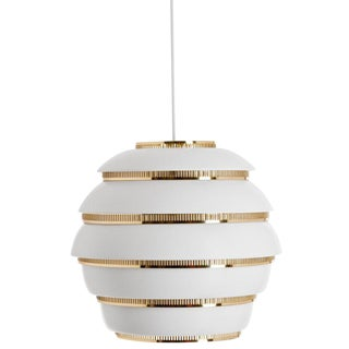 Scandinavian Modern Alvar Aalto for Artek A331 'Beehive' White and Brass Pendant Light For Sale