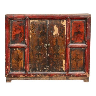 Antique Rustic Painted Tibetan Cabinet For Sale