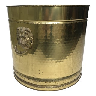 Vintage Brass Bin With Lion Head Handles For Sale