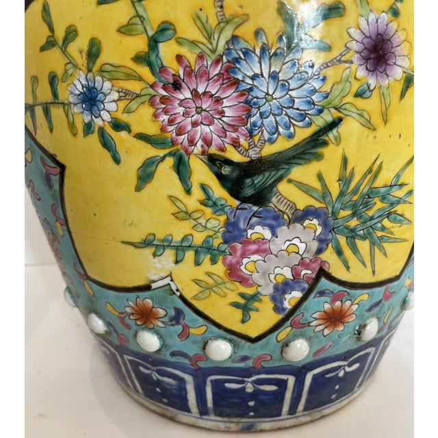 Antique Chinese Chinoiserie Turquoise & Yellow Ceramic Garden Seat, A-Pair For Sale - Image 4 of 10