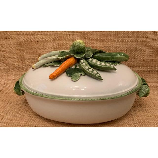 White 1970s Trompe l'Oeil Covered Vegetable Dish For Sale - Image 8 of 8