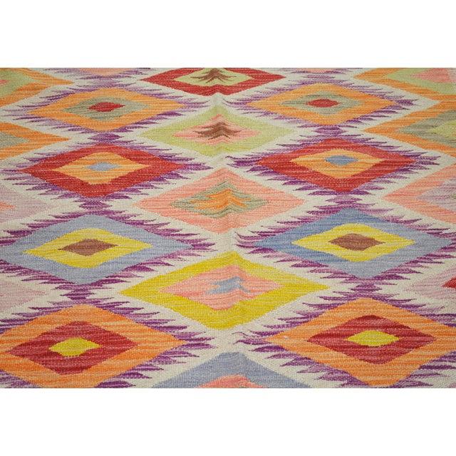 "Shabby Chic Vintage Afghan Hand Made Organic Wool Maimana Kilim,5'8""x8'2"" For Sale - Image 3 of 5"