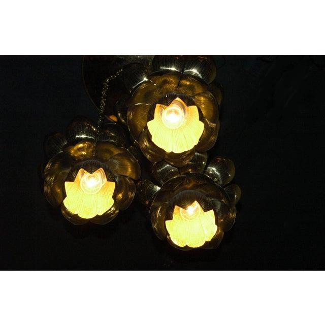 Metal 1960s Feldman Lighting Co. Mid-Century Lotus Pendant Chandelier For Sale - Image 7 of 8