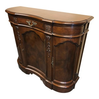 Traditional Karges Burled Walnut and Mahogany Curvy Credenza For Sale