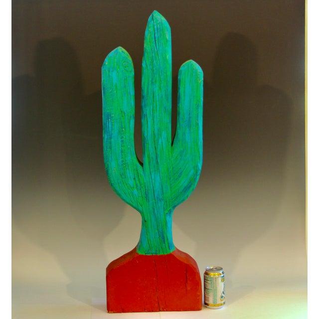 Vintage 1980s South Western Folk Art Painted Carved Wood Cactus Sculpture For Sale - Image 9 of 10