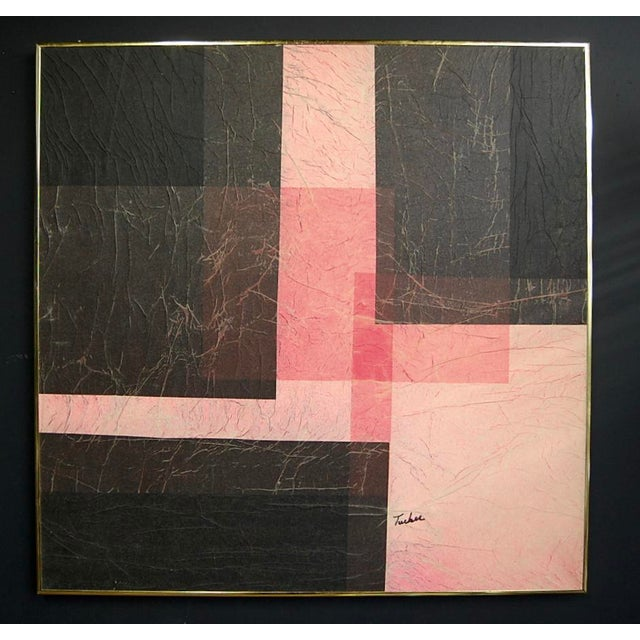 Modernist Pink & Black Mixed Media Painting - Image 8 of 8