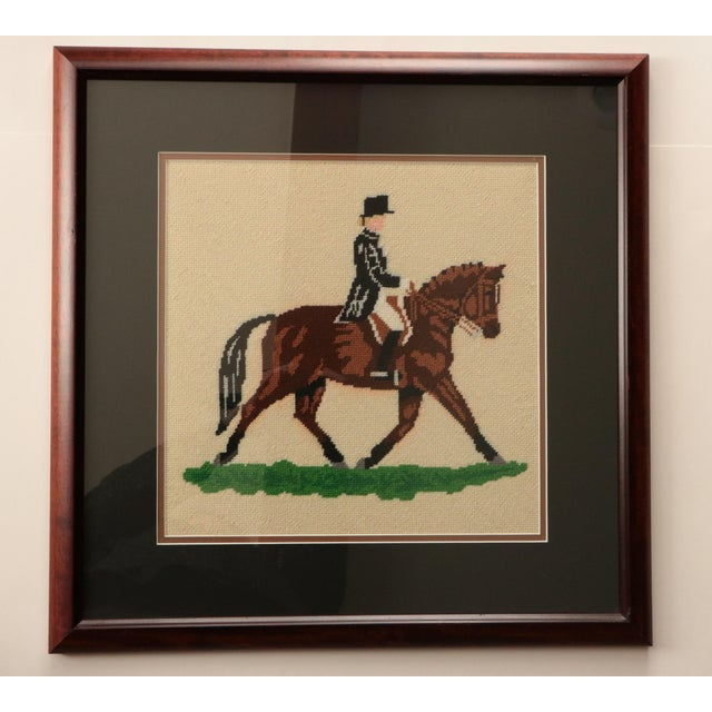 "Late 20th Century ""Dressage Rider"" Equestrian Needlepoint For Sale - Image 5 of 5"