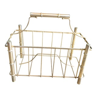 Brass Bamboo Style Magazine Rack For Sale