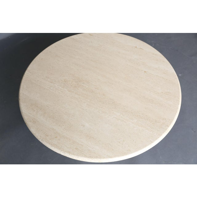 Mid Century Round Travertine Coffee Table - Image 9 of 9