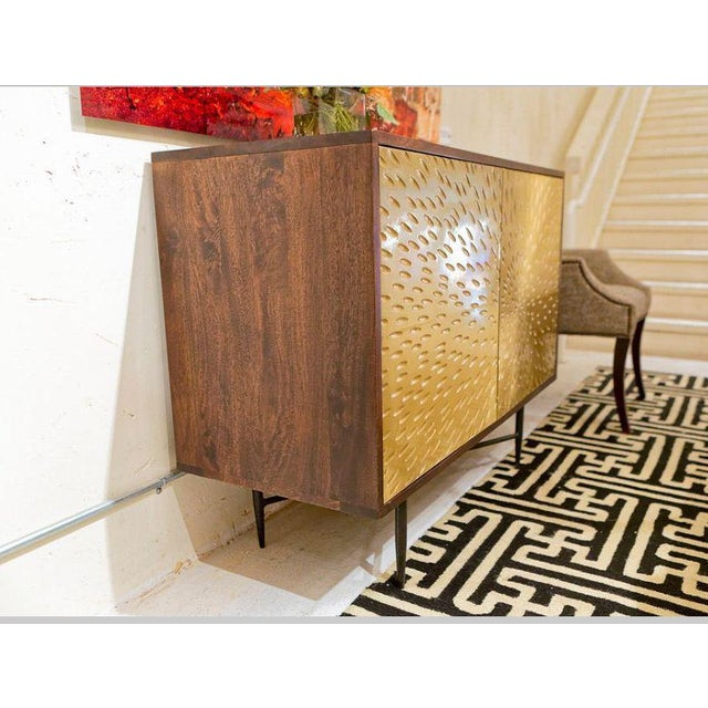 Contemporary Wooden Metal Living Room Cornell Chest Cabinet - Image 8 of 10