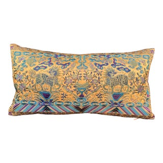Hollywood Regency Turquoise & Chartreuse Silk Embroidered Foo Dogs Chinoiserie Boudoir Lumbar Pillow For Sale