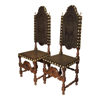 Pair of Antique Oak, Leather, and Brass Side Chairs From Portugal, 19th Century For Sale