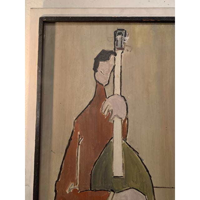 Mid-Century Modern Mid Century Modern Painting, Guitar and Cello Ostermeyer For Sale - Image 3 of 5