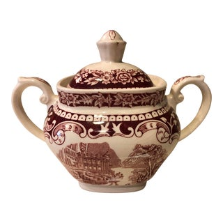Staffordshire English Red and White Ironstone Sugar Bowl For Sale