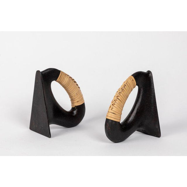 Metal Carl Auböck Model 'Flatiron' Patinated Brass and Cane Bookends - A Pair For Sale - Image 7 of 12