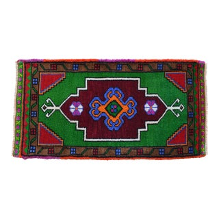 """Hand Knotted Oushak Rug. Colorful Rug, Bath Mat, Laundry Decor 1'6"""" X 2'11"""" For Sale"""