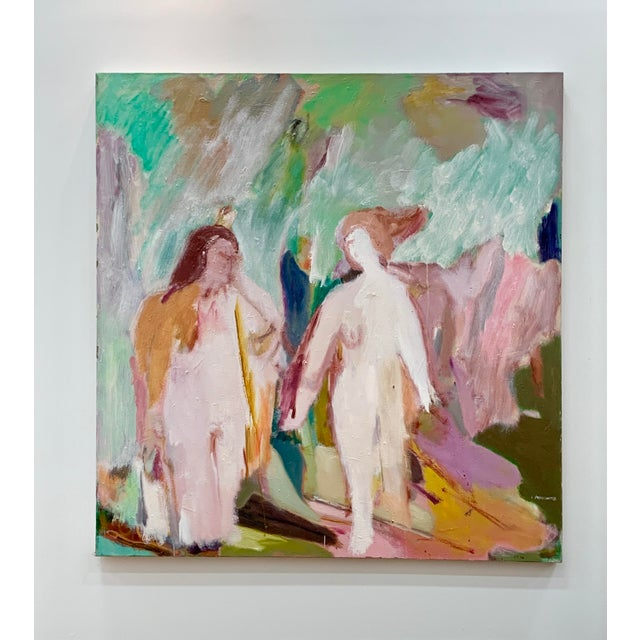 Irving Aronowitz Vintage Oil on Canvas of Two Women For Sale - Image 10 of 10