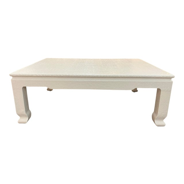 Vintage Lacquered Weave Lopped Coffee Table For Sale