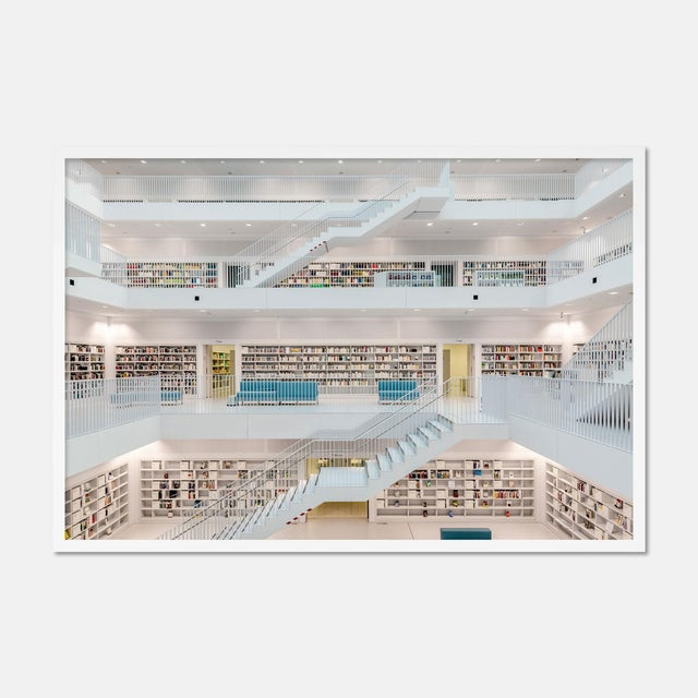 Contemporary Stuttgart Library XI by Richard Silver in White Framed Paper, Small Art Print For Sale - Image 3 of 3
