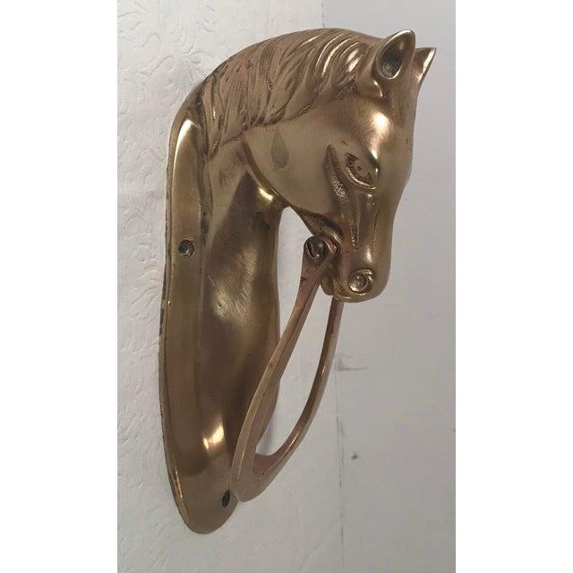 Mid 20th Century Vintage Brass Horse Head Door Knocker For Sale - Image 5 of 9