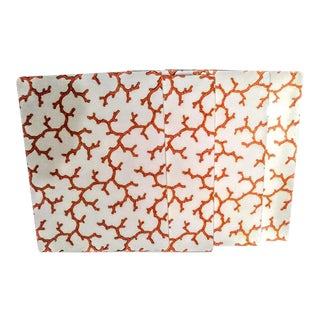 Set of 4 Lacquered High End Caspari Coral and White Hard Tropical Placemats For Sale