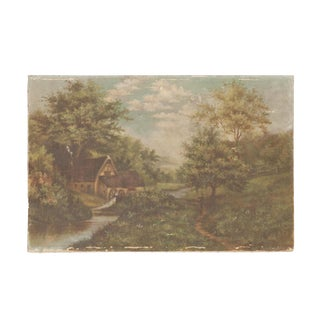 Cottage Scene Antique Painting For Sale
