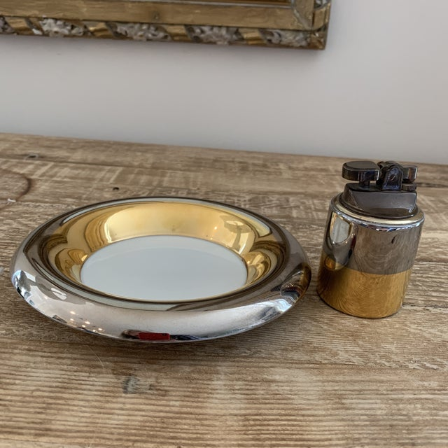 Gold Mid Century Metallic Porcelain Fitz & Floyd Lighter and Ashtray For Sale - Image 8 of 8