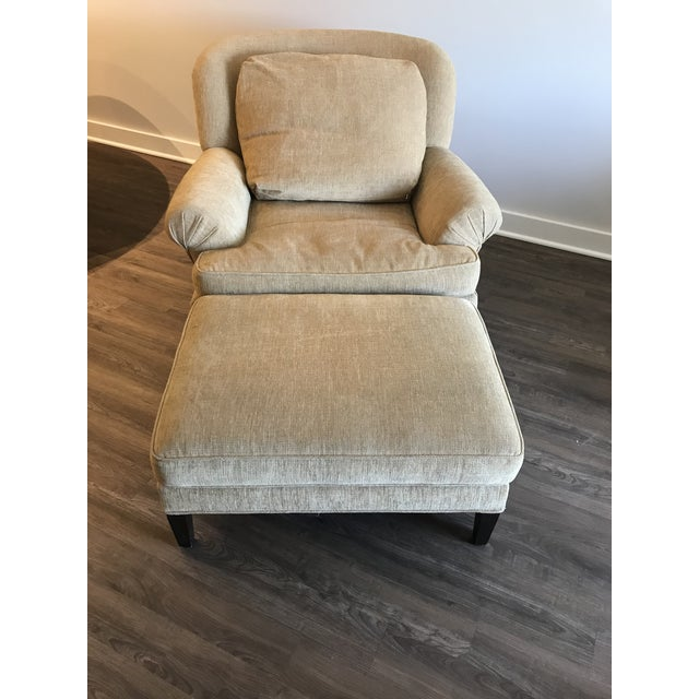 1990s Pearson Club Chair and Ottoman Restyled in Ralph Lauren Khaki Fabric For Sale - Image 9 of 13