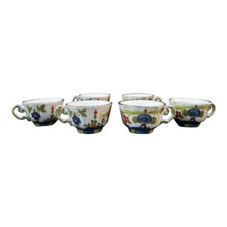 Made in Italy Faenza Amm Set of 6 Colorful Floral Majolica Tea Cup Set For Sale