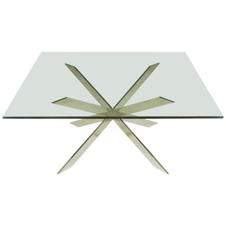 Leon Rosen for Pace Collection Double X-Base Chrome Coffee Table For Sale