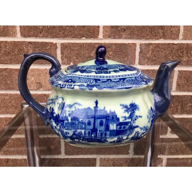 Ceramic Vintage Flow Blue English Teapot For Sale - Image 7 of 10