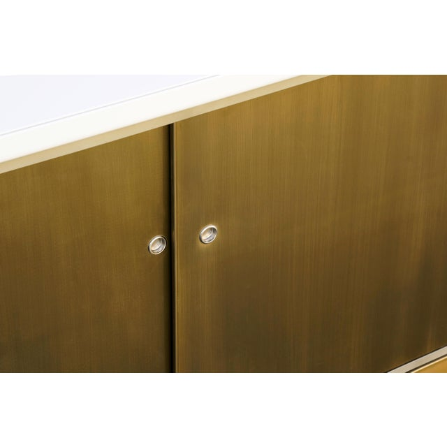 Not Yet Made - Made To Order Custom Tanker Style Steel Credenza in Brass and White Finish For Sale - Image 5 of 7