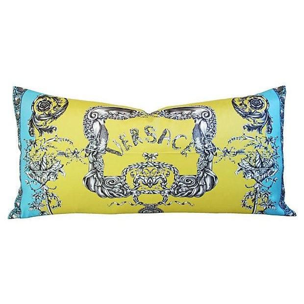 Large Designer Italian Versace Silk Scarf Pillow - Image 2 of 8